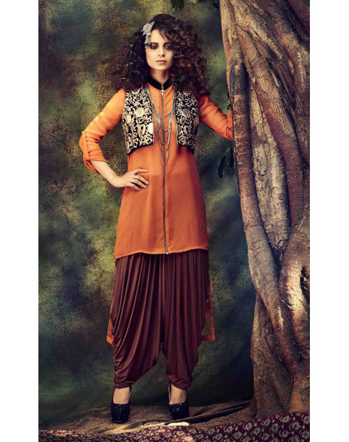 Kangana Ranaut Orange Semi-stitched Designer Anarkali Suit