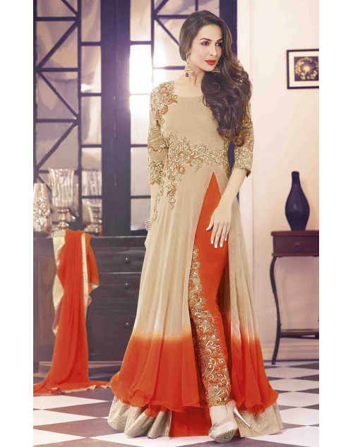 Malaika Arora Khan Tan and OrangeRed Designer Georgette Suit