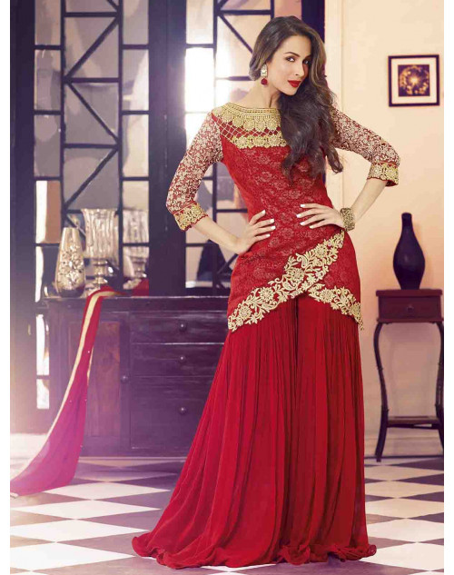 Malaika Arora Khan Red Designer Georgette Suit