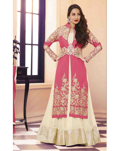 Malaika Arora Khan Pink and Cream Designer Georgette Suit