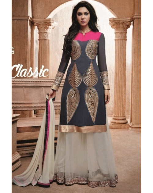 Grey Readymade Georgette Salwar Kamiz