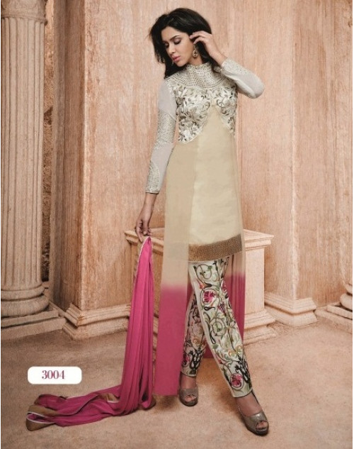 Off-white Readymade Georgette Salwar Kamiz