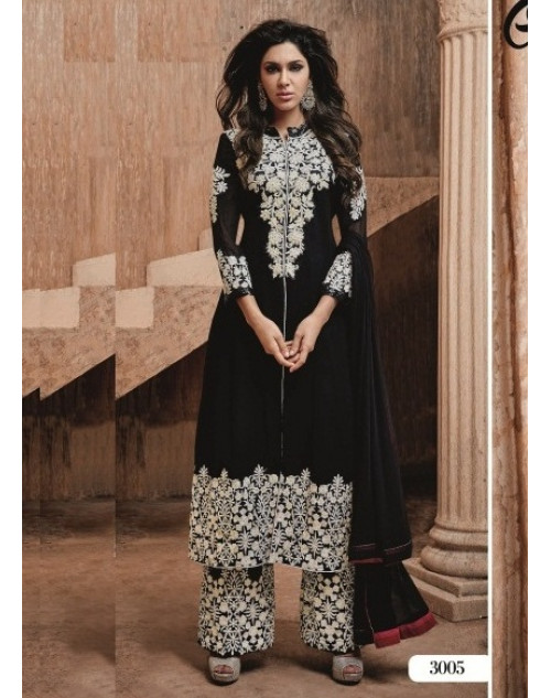 Black and White Readymade Georgette Salwar Kamiz