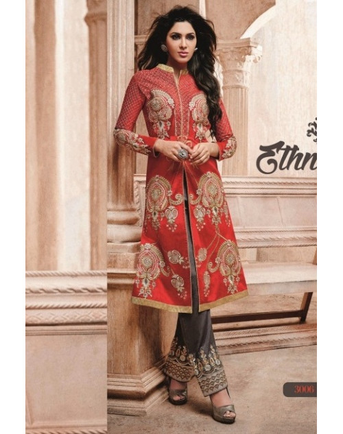 Red Readymade Georgette Salwar Kamiz