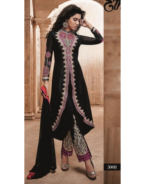 Black Readymade Georgette Salwar Kamiz