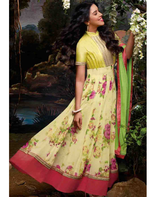 Asin Yellow Georgette Anarkali Suit