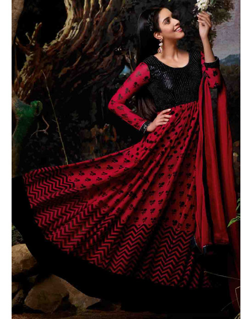 Asin Red Georgette Anarkali Suit