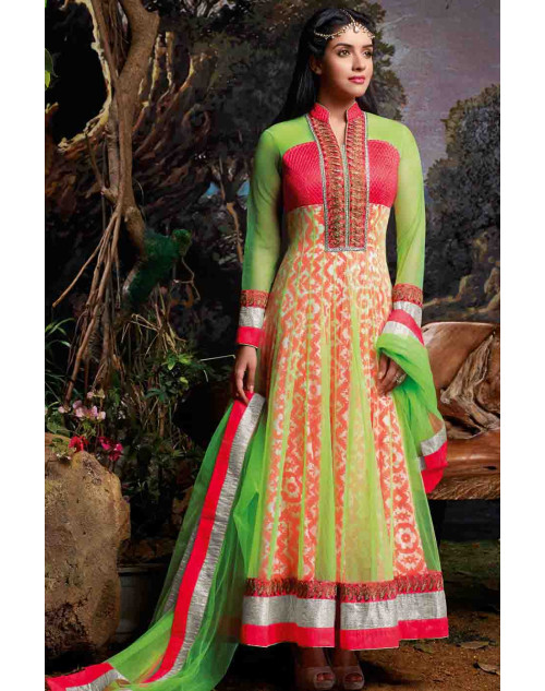 Asin Green Semi Stitched Cotton Anarkali Suit