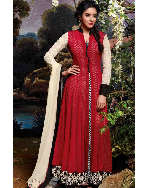 Asin Maroon Semi Stitched Cotton Anarkali Suit