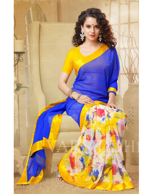 Kangana Ranaut Yellow and Blue Pure Georgette Saree