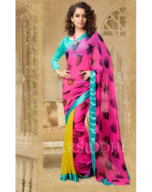 Kangana Ranaut Aqua and Pink Pure Georgette Saree