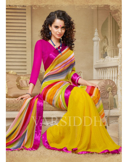 Kangana Ranaut Fuchsia and Yellow Pure Georgette Saree