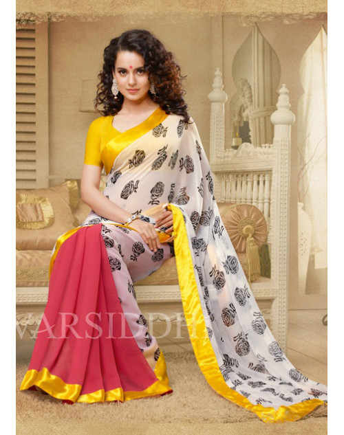 Kangana Ranaut White and Yellow Pure Georgette Saree