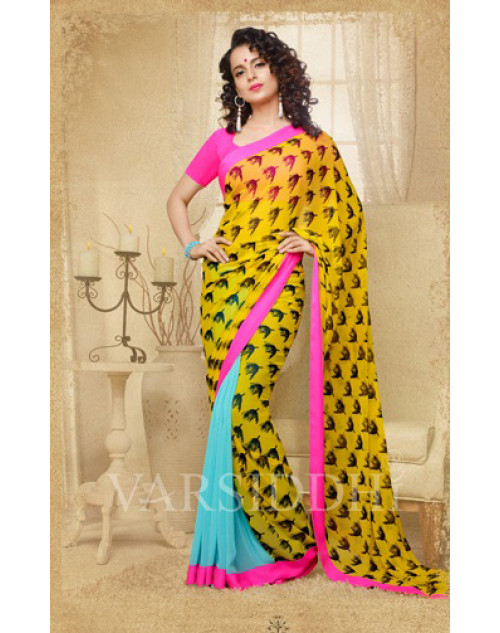 Kangana Ranaut Yellow Pure Georgette Saree