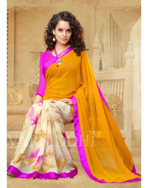 Kangana Ranaut Pink and Gold Pure Georgette Saree