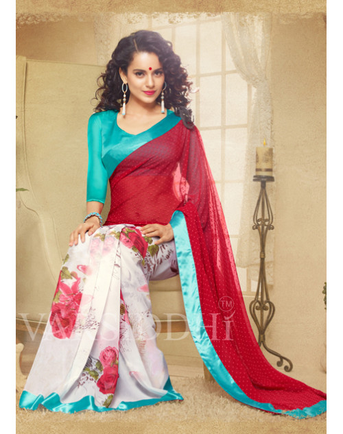 Kangana Ranaut Aquamarine and Maroon Pure Georgette Saree