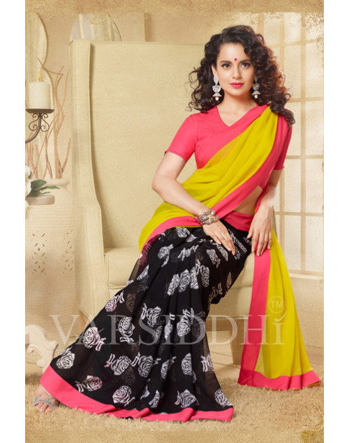 Kangana Ranaut Coral and Black Pure Georgette Saree