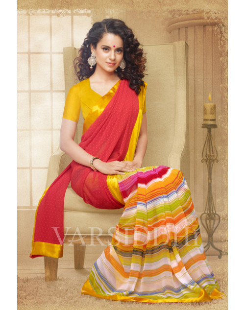Kangana Ranaut Orange and Red Pure Georgette Saree