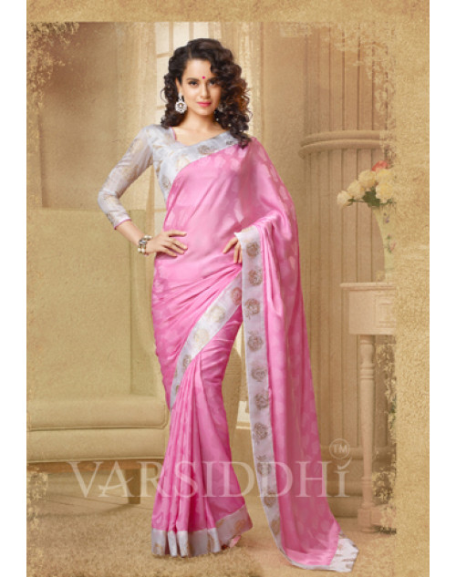 Kangana Ranaut Off-white and Pink Pure Georgette Saree