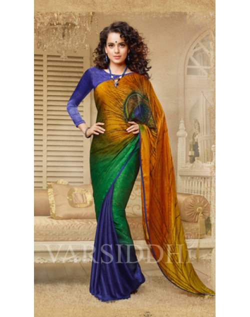 Kangana Ranaut Blue and Green Georgette Saree
