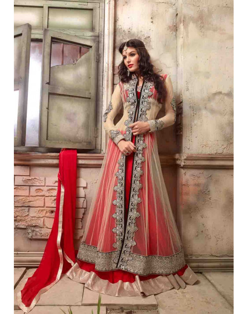 Red and Wheat Net and Georgette Indo-western Anarkali Suit