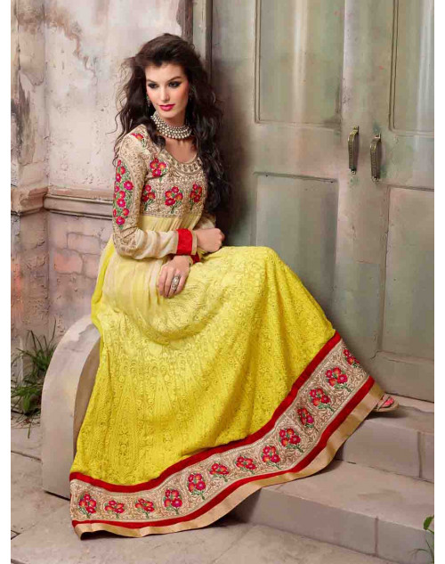 Yellow Georgette Floor Length Anarkali Suit