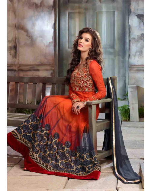 Tomato Net and Georgette Floor Length Anarkali Suit