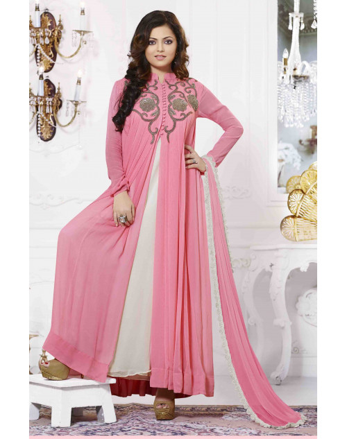 Madhubala Pink and White Semi Stitched Embroidered Anarkali Suit