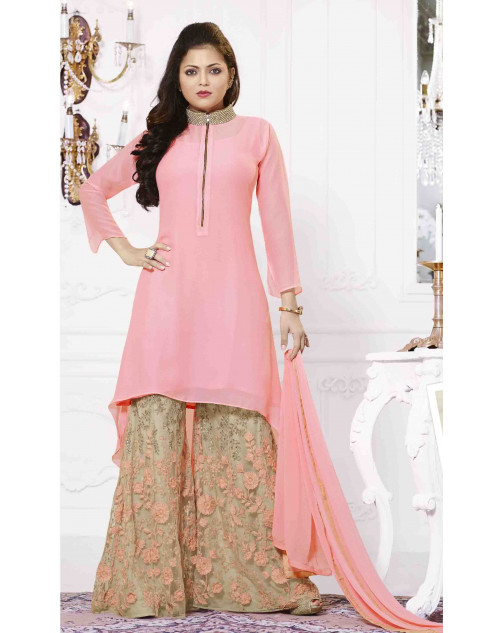 Madhubala Peach and Beige Semi Stitched Embroidered Palazzo Suit
