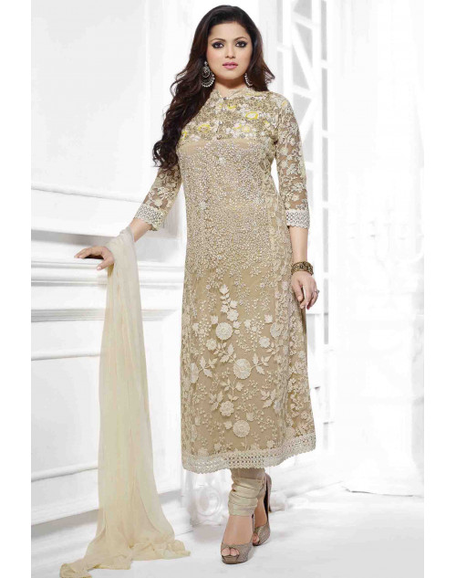 Madhubala Cream Semi Stitched Embroidered Straight Suit