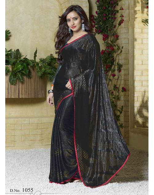 Neha Sharma Black Silk Jacquard Saree