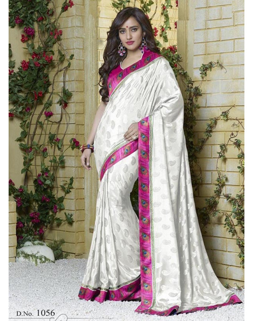 Neha Sharma White Silk Jacquard Saree