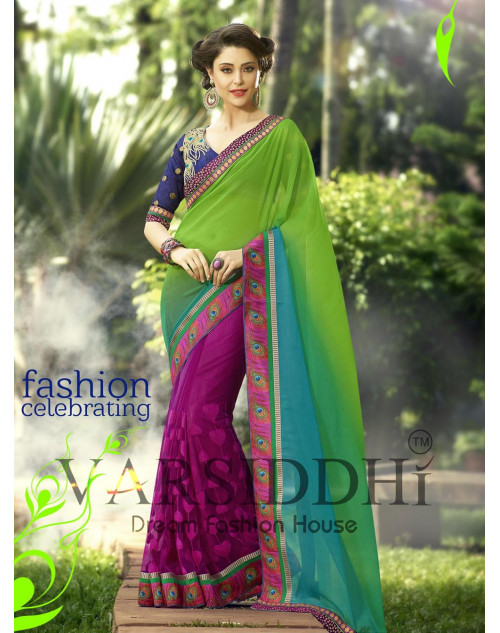 Blue and Violet Chiffon Georgette Saree