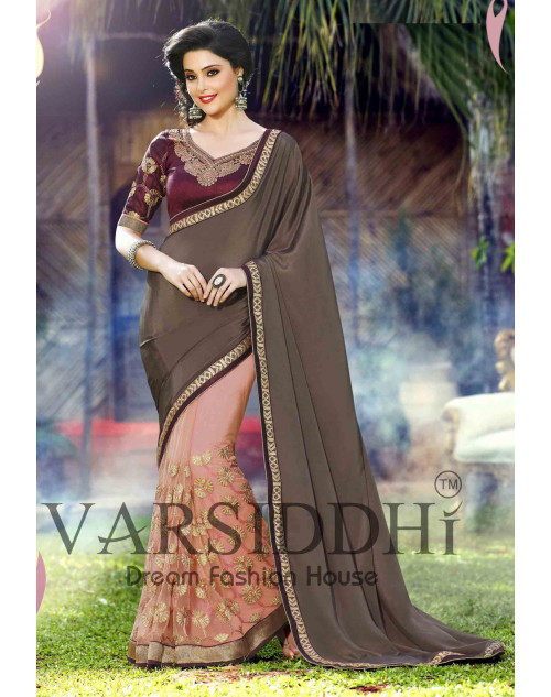 Maroon and Salmon Chiffon Georgette Saree
