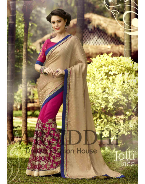 Pink and Burlywood Chiffon Georgette Saree