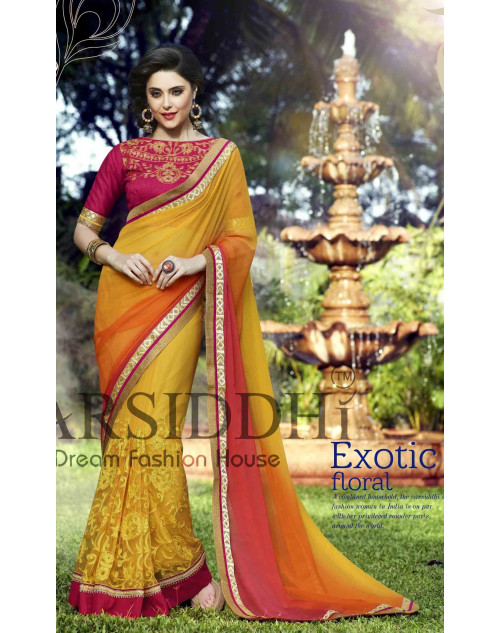 Red and Yellow Chiffon Georgette Saree