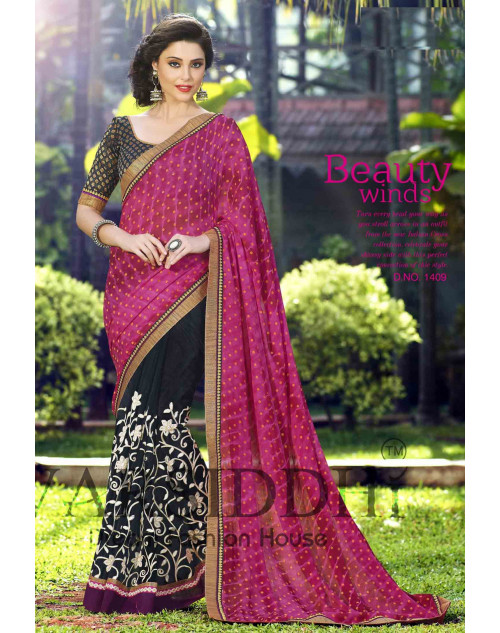 Black and Pink Chiffon Georgette Saree