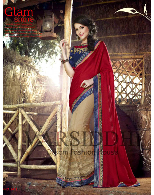 Blue and Red Chiffon Georgette Saree