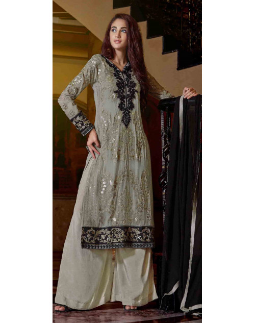 Grey Semi Stitched Georgette Embroidered Palazzo Suit