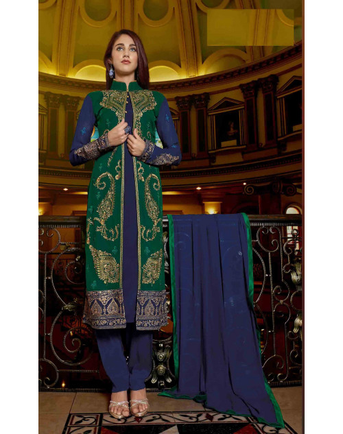 Blue Semi Stitched Georgette Embroidered Palazzo Suit