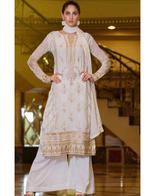 White Semi Stitched Georgette Embroidered Palazzo Suit