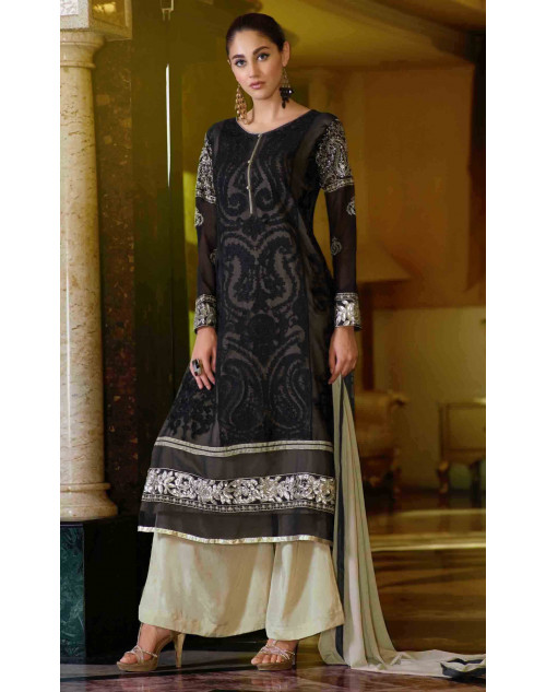 Black Semi Stitched Georgette Embroidered Palazzo Suit