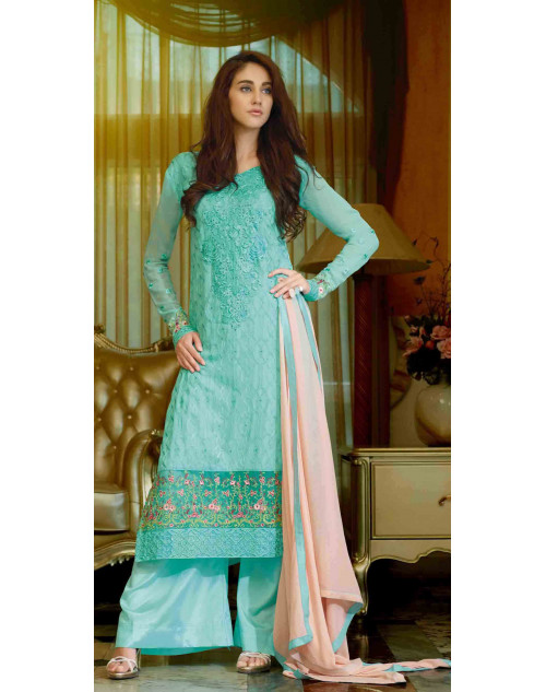 Aqua Semi Stitched Georgette Embroidered Palazzo Suit