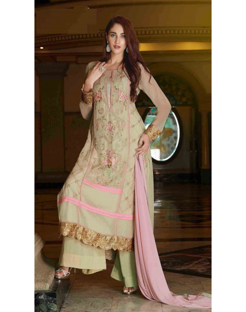Cream Semi Stitched Georgette Embroidered Palazzo Suit