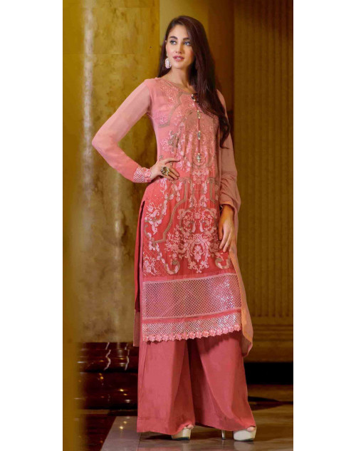 Peach Semi Stitched Georgette Embroidered Palazzo Suit