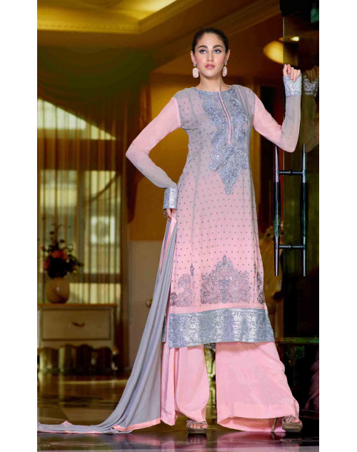 Pink Semi Stitched Georgette Embroidered Palazzo Suit