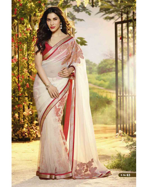 Sophie Choudry Red and Off-white Chiffon and Net Saree