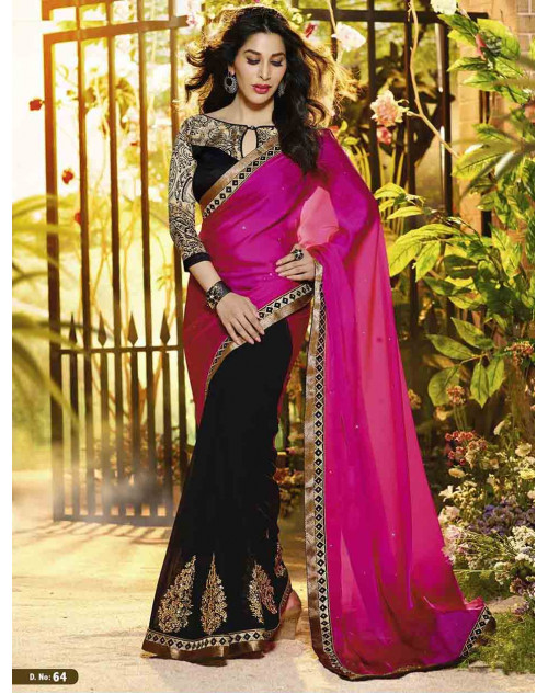 Sophie Choudry Black and Pink Satin Georgette Saree