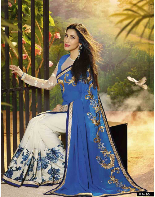 Sophie Choudry White and Blue Georgette and Raw Silk Saree