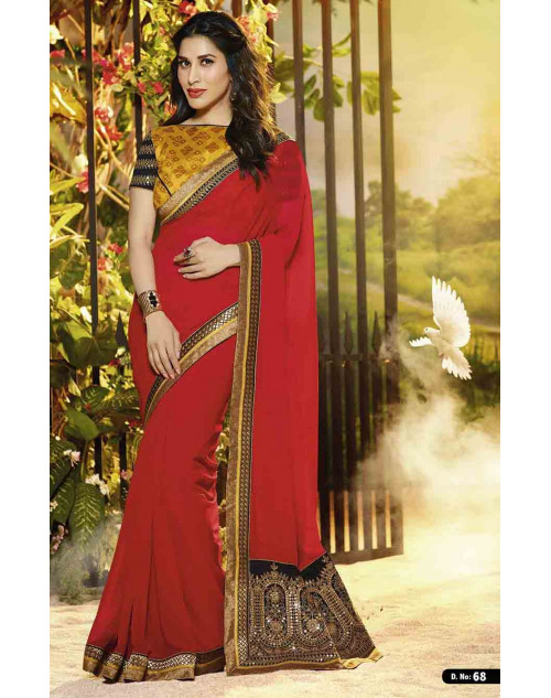 Sophie Choudry Orange and Red Georgette Saree